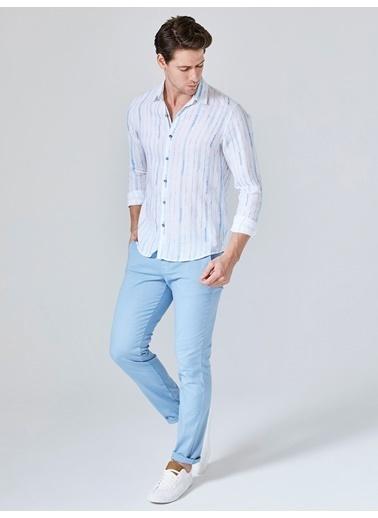 Xint %100 Keten Çizgili Uzun Kollu Gömlek Mavi